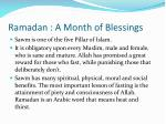 Ramadan : A Month of Blessings