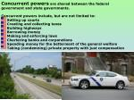 Concurrent powers are shared between the federal government and state governments.