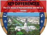 Key Differences The U.S. House of Representatives and the U.S. Senate