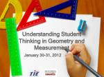 Understanding Student Thinking in Geometry and Measurement