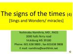 The signs of the times (4) [Sings and Wonders/ miracles]