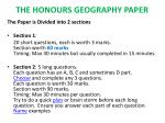 THE HONOURS GEOGRAPHY PAPER