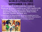 WORLD LITERATURE SEPTEMBER 13, 2012