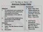 L17: The War on Terror – P1 American Foreign Policy