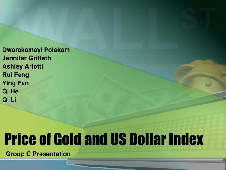 price of gold and us dollar index n.