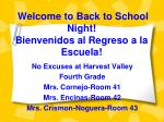Welcome to Back to School Night! Bienvenidos al Regreso a la Escuela!