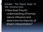 Dreams: The Royal Road to the Unconscious