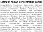 Listing of Known Concentration Camps
