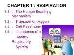 CHAPTER 1 : RESPIRATION
