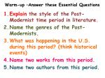 Warm-up –Answer these Essential Questions