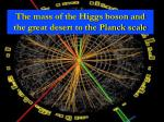 The mass of the Higgs boson and the great desert to the Planck scale