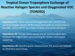 Tropical Ocean Troposphere Exchange of Reactive Halogen Species and Oxygenated VOC (TORERO)