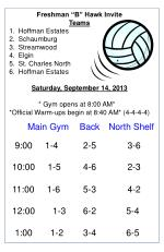 "Freshman ""B"" Hawk Invite Teams Hoffman Estates	 Schaumburg Streamwood Elgin St. Charles North"