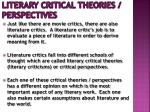 Literary Critical Theories / Perspectives