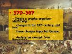 379-387 Create a graphic organizer identifying changes in the 14 th century and how