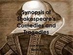 Synopsis of Shakespeare's Comedies and Tragedies