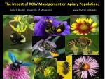 The Impact of ROW Management on Apiary Populations