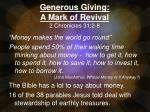 Generous Giving: A Mark of Revival 2 Chronicles 31:2-8
