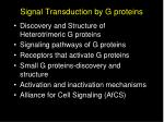 Signal Transduction by G proteins