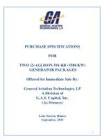 PURCHASE SPECIFICATIONS FOR TWO (2) ALLISON 501-KB (3500 KW) GENERATOR PACKAGES