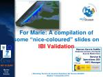 "For Marie : A compilation of some ""nice- coloured "" slides on  IBI Validation"
