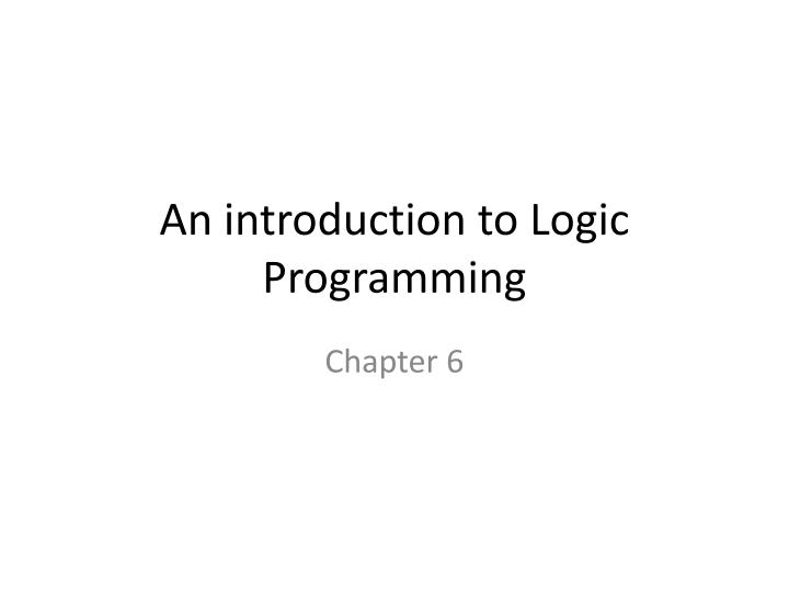 an introduction to logic programming n.