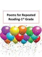 Poems for Repeated Reading-1 st Grade