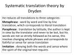 Systematic translation theory by Dryden