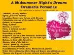A Midsummer Night's Dream : Dramatis Personae the characters or actors in a play, movie, etc.