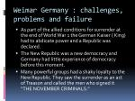 Weimar Germany : challenges, problems and failure