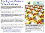 Topological Matter in Optical Lattices