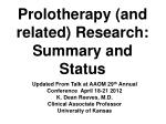 Prolotherapy (and related) Research: Summary and Status