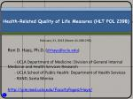 Health-Related Quality of Life Measures (HLT POL 239B)