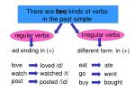 There are two kinds of verbs in the past simple