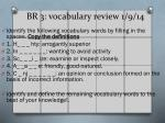 BR 3: vocabulary review 1/9/14