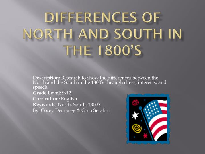 differences of north and south in the 1800 s n.
