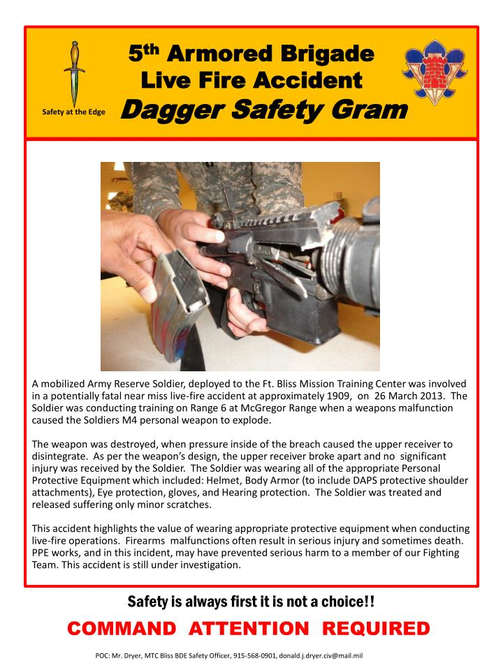 5 th armored brigade live fire accident dagger safety gram n.