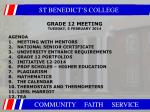 GRADE 12 MEETING TUESDAY, 5 FEBRUARY 2014