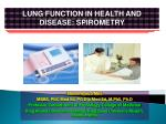 LUNG FUNCTION IN HEALTH AND DISEASE: SPIROMETRY