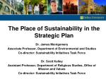 The Place of Sustainability in the Strategic Plan