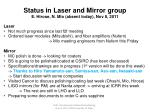 Status in Laser and Mirror group E. Hirose, N. Mio (absent today), Nov 8, 2011 Laser