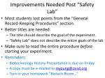 """Improvements Needed Post """"Safety Lab"""""""