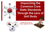 Unpacking the Common Core State Standards Through the Lens of Unit Study