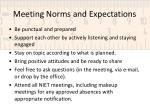 Meeting Norms  and Expectations