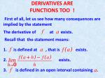 DERIVATIVES ARE FUNCTIONS TOO !