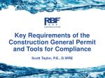 Key Requirements of the Construction General Permit and Tools for Compliance