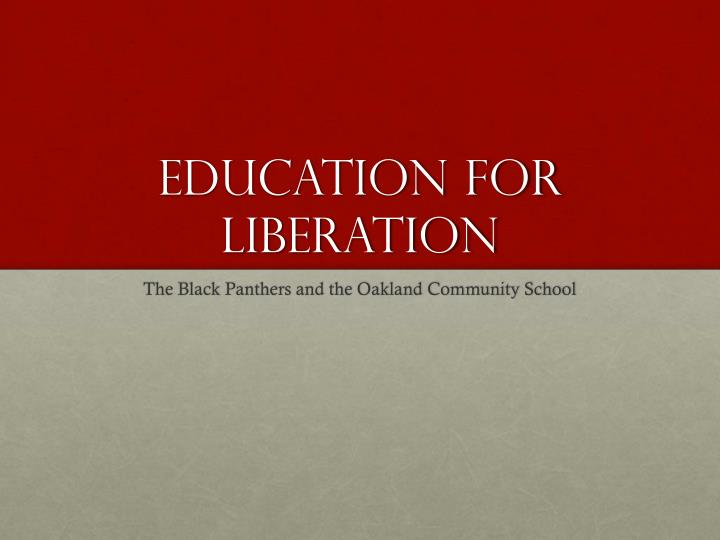 education for liberation n.