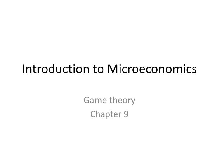introduction to microeconomics n.
