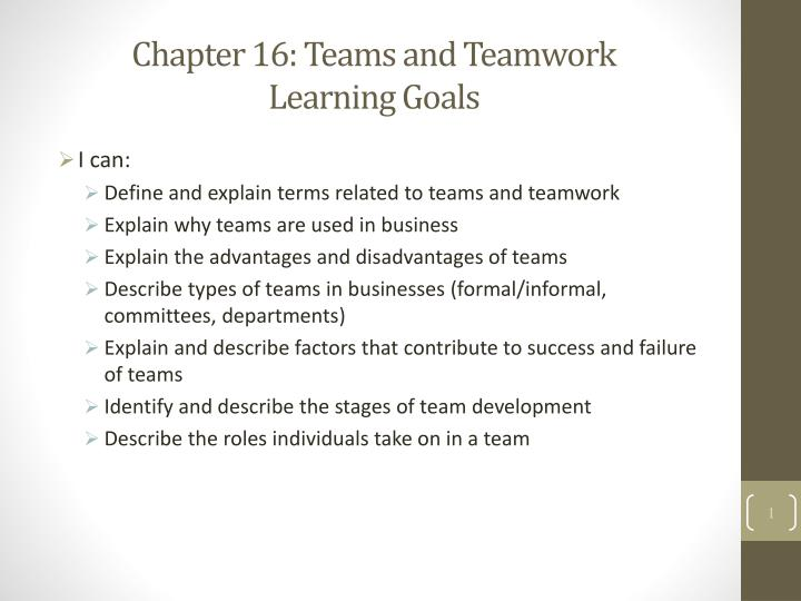 chapter 16 teams and teamwork learning goals n.