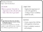 Monday 3 October Topic: Cell Vocabulary!